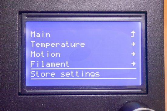 Ender-3 LCD Menu Store settings